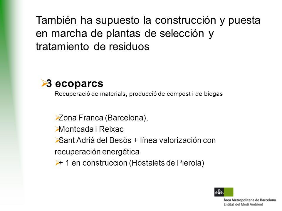 También ha supuesto la construcción y puesta en marcha de plantas de selección y tratamiento de residuos