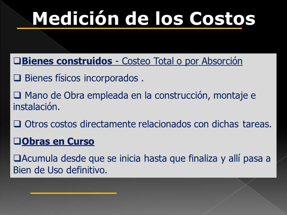 Medición de los Costos Bienes construidos - Costeo Total o por Absorción. Bienes físicos incorporados .
