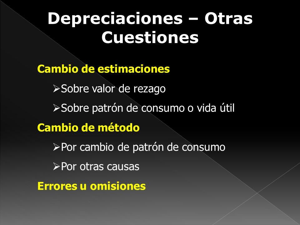 Depreciaciones – Otras Cuestiones