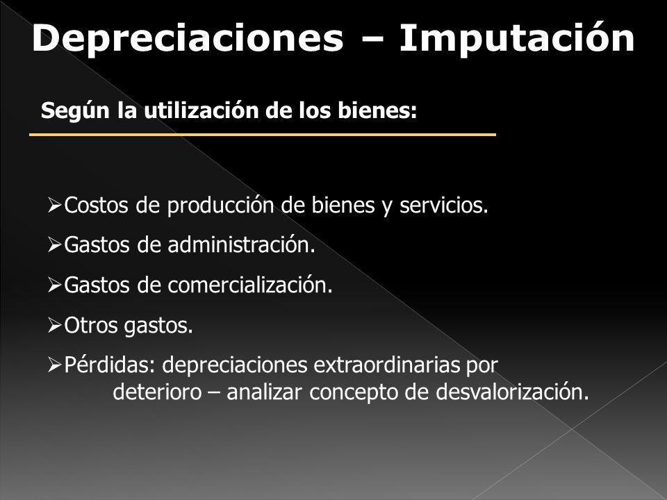 Depreciaciones – Imputación