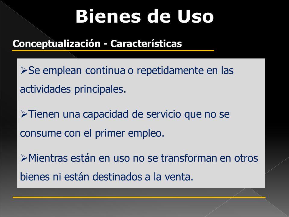 Bienes de Uso Conceptualización - Características. Se emplean continua o repetidamente en las actividades principales.