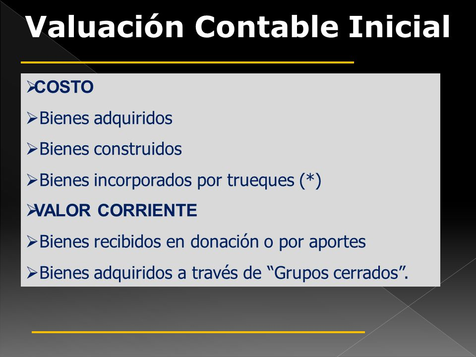 Valuación Contable Inicial