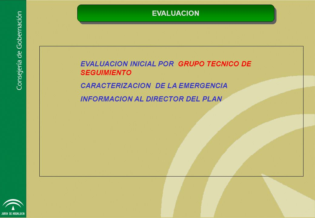 EVALUACION EVALUACION INICIAL POR GRUPO TECNICO DE SEGUIMIENTO. CARACTERIZACION DE LA EMERGENCIA.