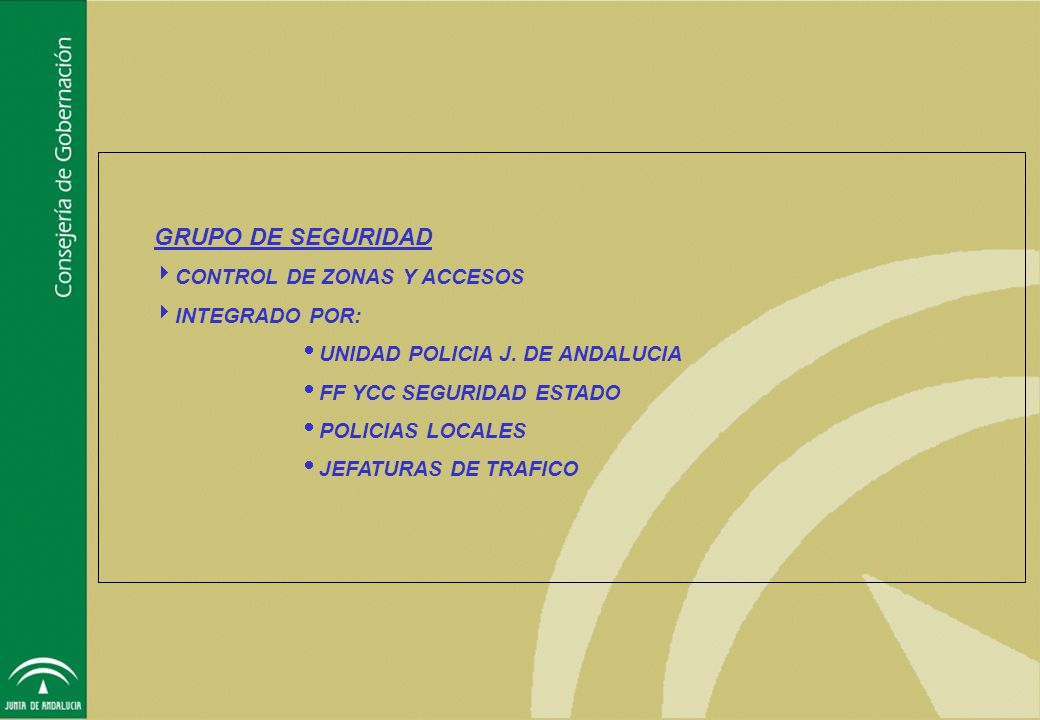 GRUPO DE SEGURIDAD CONTROL DE ZONAS Y ACCESOS INTEGRADO POR: