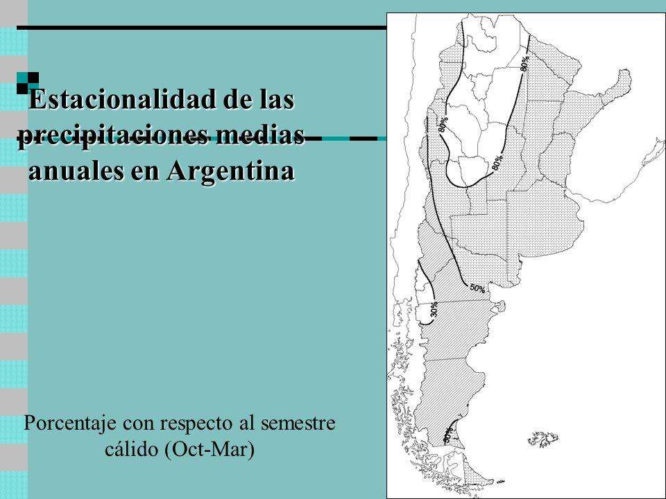 Estacionalidad de las precipitaciones medias anuales en Argentina