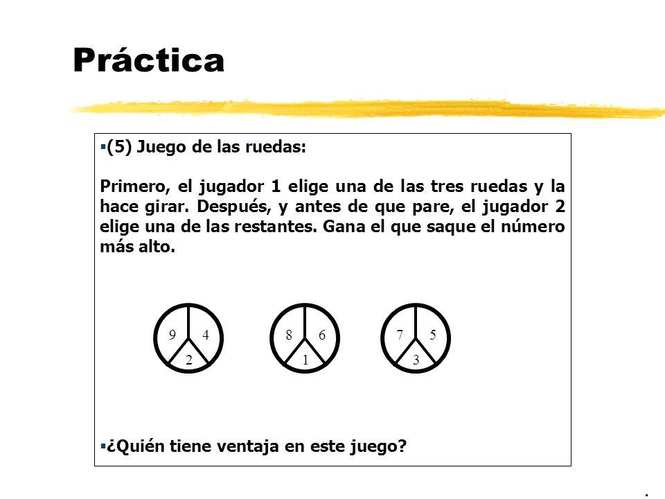 Práctica . (5) Juego de las ruedas: