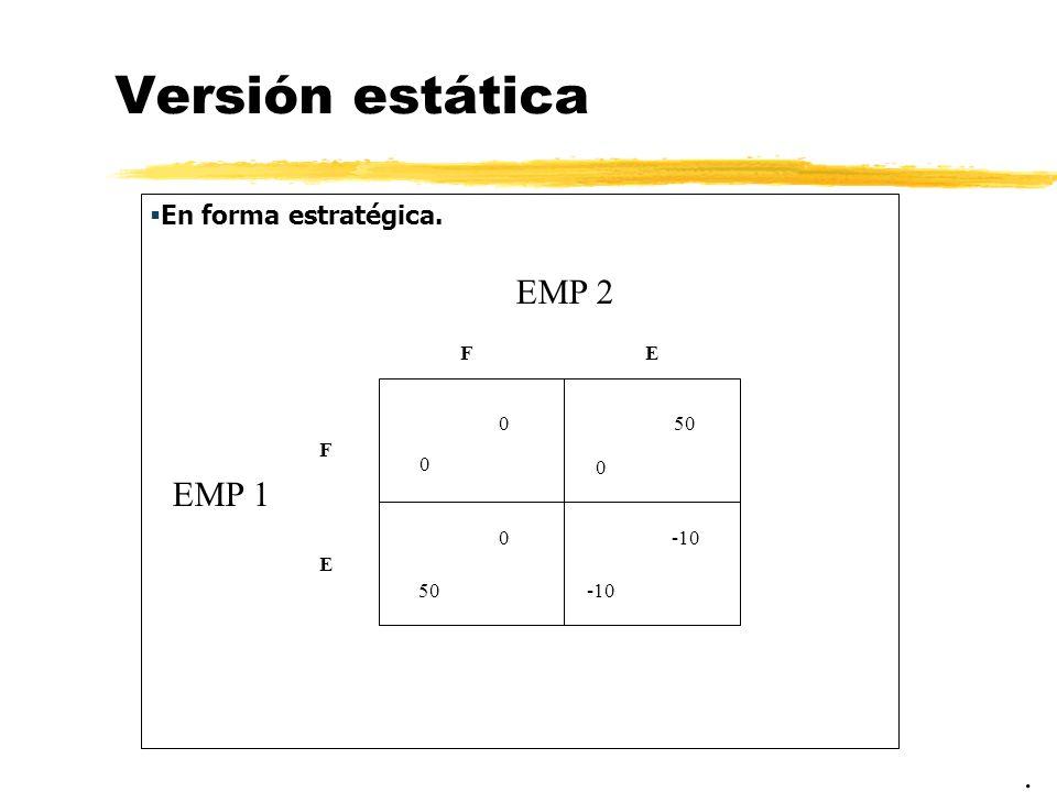 Versión estática EMP 2 EMP 1 . En forma estratégica. F E 50 F -10 E 50