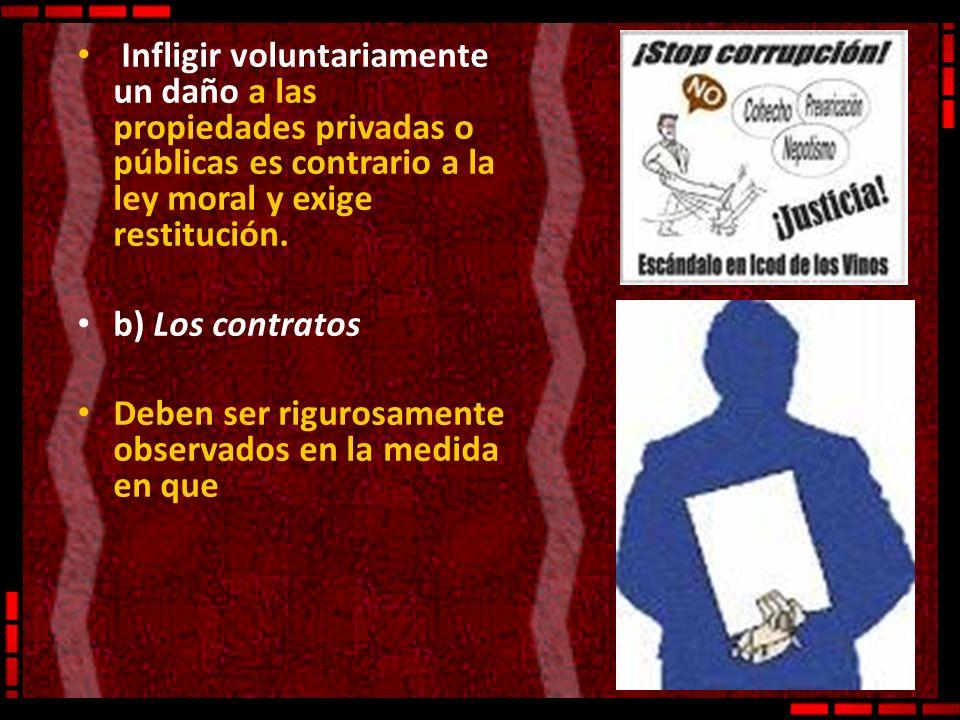 Infligir voluntariamente un daño a las propiedades privadas o públicas es contrario a la ley moral y exige restitución.