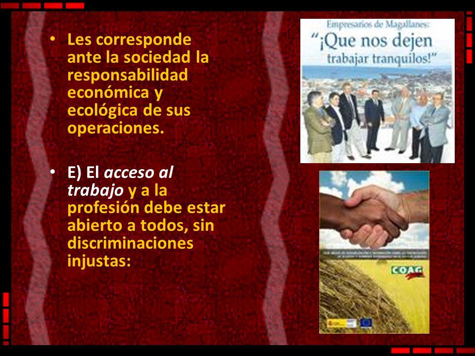 Les corresponde ante la sociedad la responsabilidad económica y ecológica de sus operaciones.
