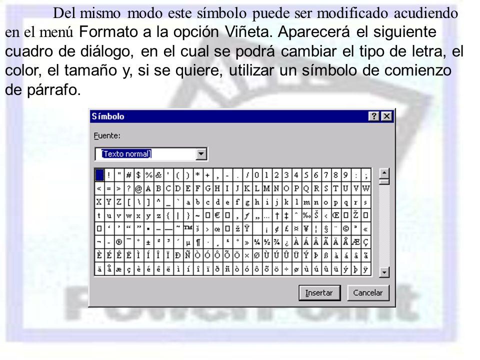 Del mismo modo este símbolo puede ser modificado acudiendo en el menú Formato a la opción Viñeta.