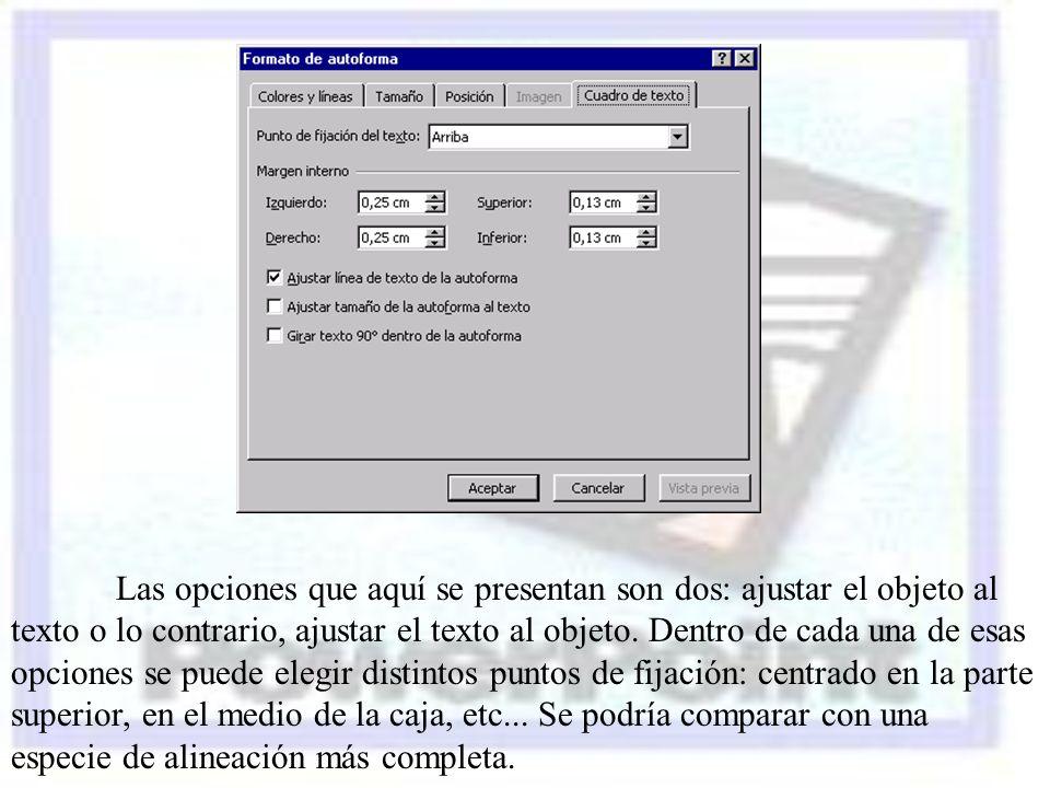Las opciones que aquí se presentan son dos: ajustar el objeto al texto o lo contrario, ajustar el texto al objeto.