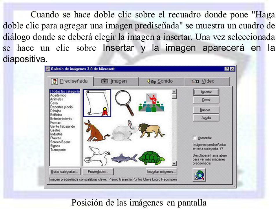 Posición de las imágenes en pantalla