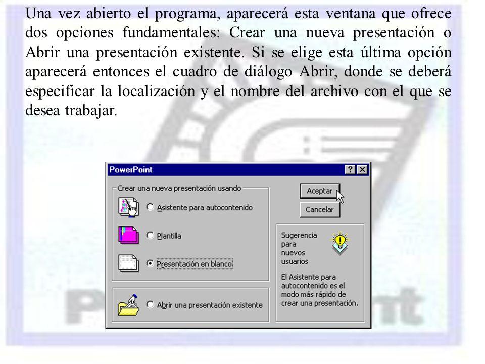 Una vez abierto el programa, aparecerá esta ventana que ofrece dos opciones fundamentales: Crear una nueva presentación o Abrir una presentación existente.
