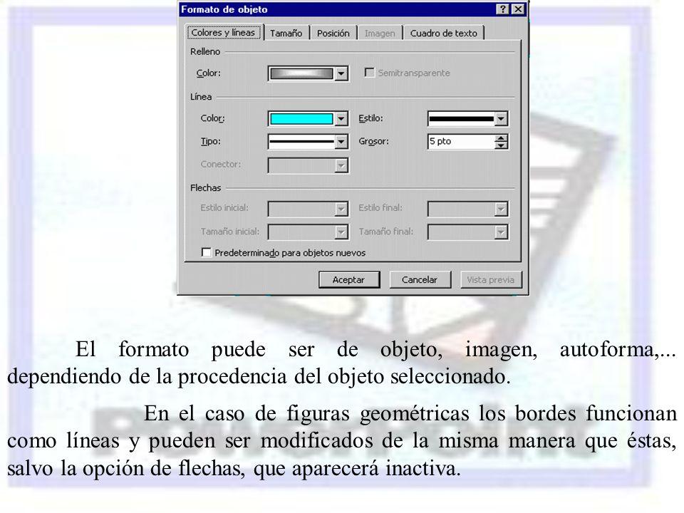 El formato puede ser de objeto, imagen, autoforma,