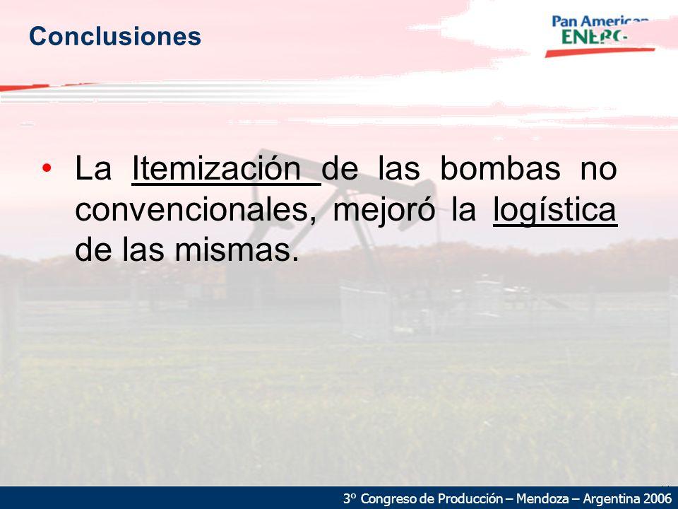 Conclusiones La Itemización de las bombas no convencionales, mejoró la logística de las mismas.