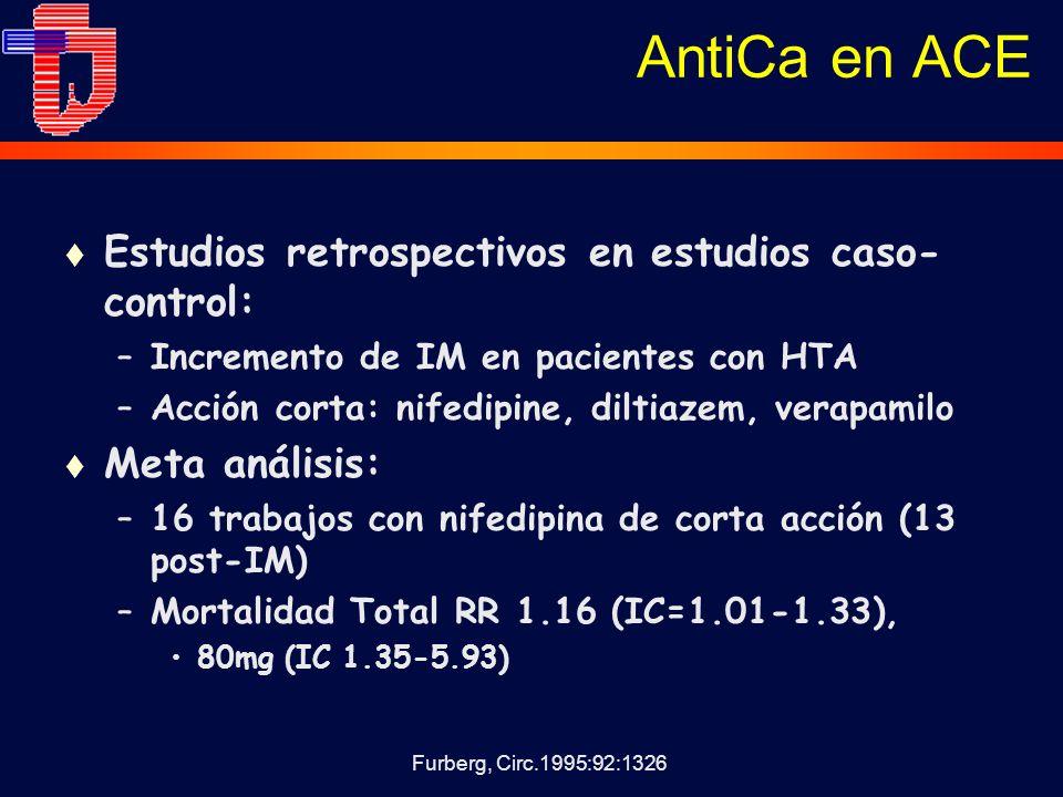 AntiCa en ACE Estudios retrospectivos en estudios caso-control: