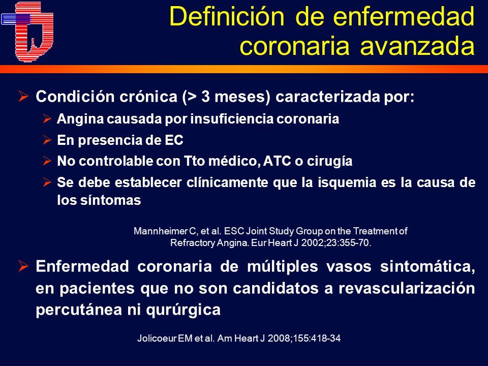 Definición de enfermedad coronaria avanzada