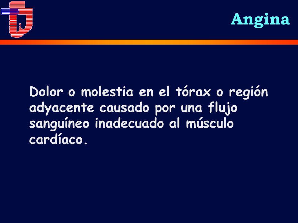 Angina Dolor o molestia en el tórax o región adyacente causado por una flujo sanguíneo inadecuado al músculo cardíaco.