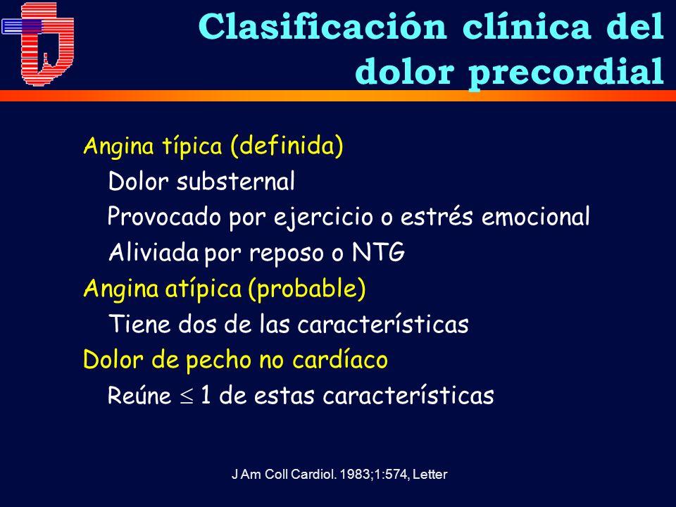Clasificación clínica del dolor precordial