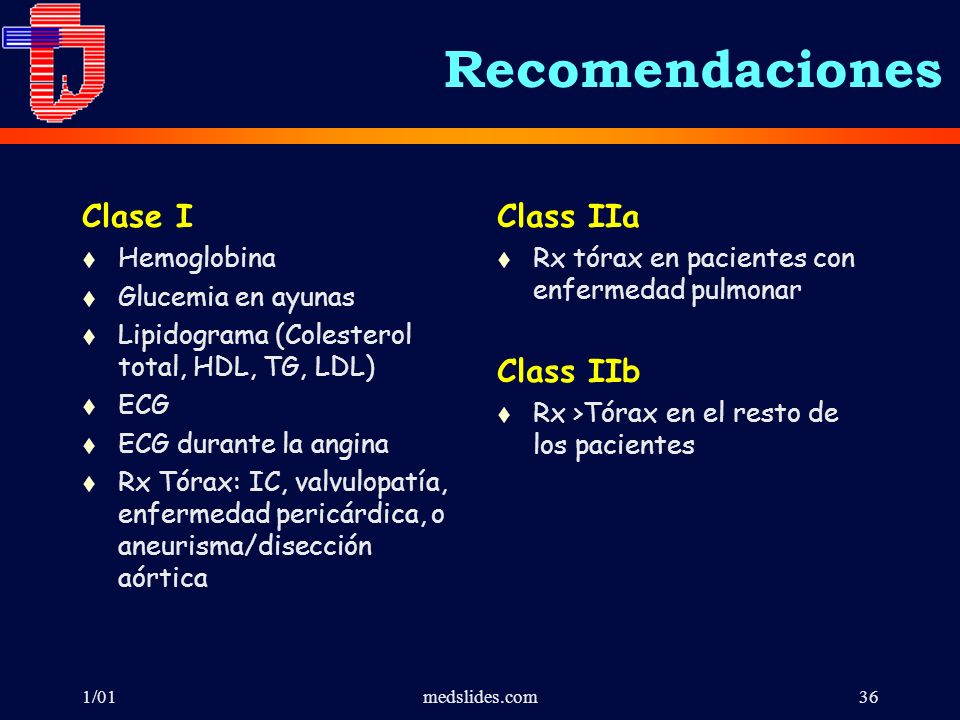 Recomendaciones Clase I Class IIa Class IIb Hemoglobina