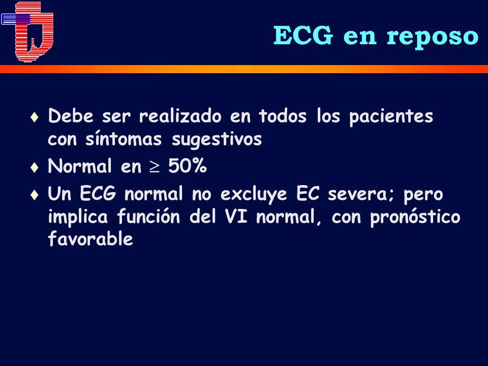 ECG en reposo Debe ser realizado en todos los pacientes con síntomas sugestivos. Normal en  50%