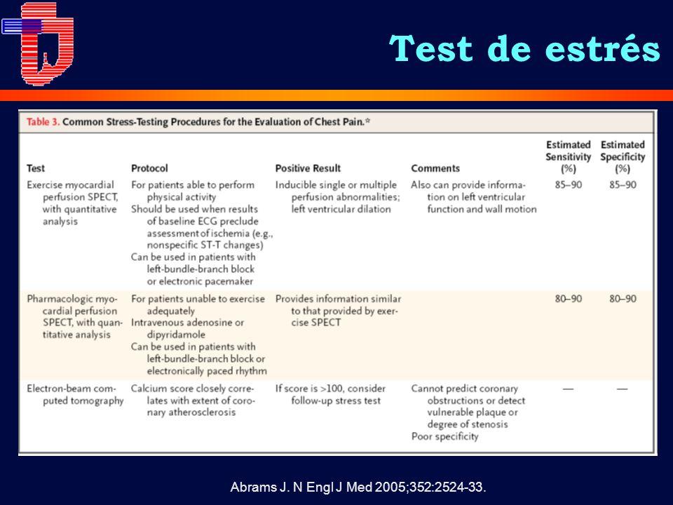 Test de estrés Abrams J. N Engl J Med 2005;352:2524-33.