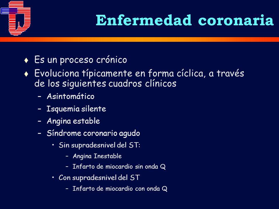 Enfermedad coronaria Es un proceso crónico