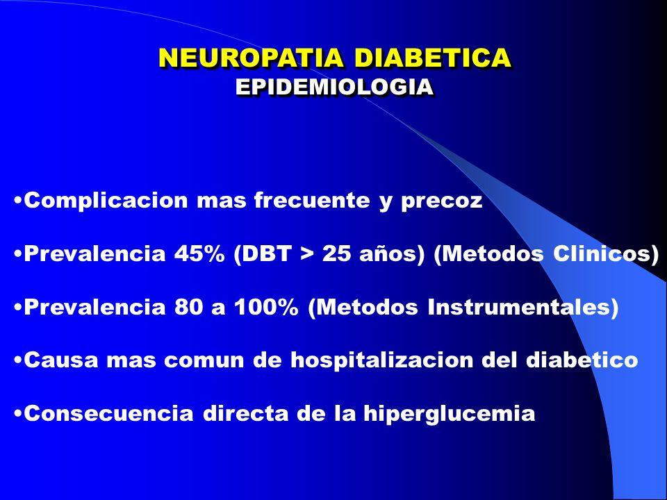 NEUROPATIA DIABETICA EPIDEMIOLOGIA Complicacion mas frecuente y precoz