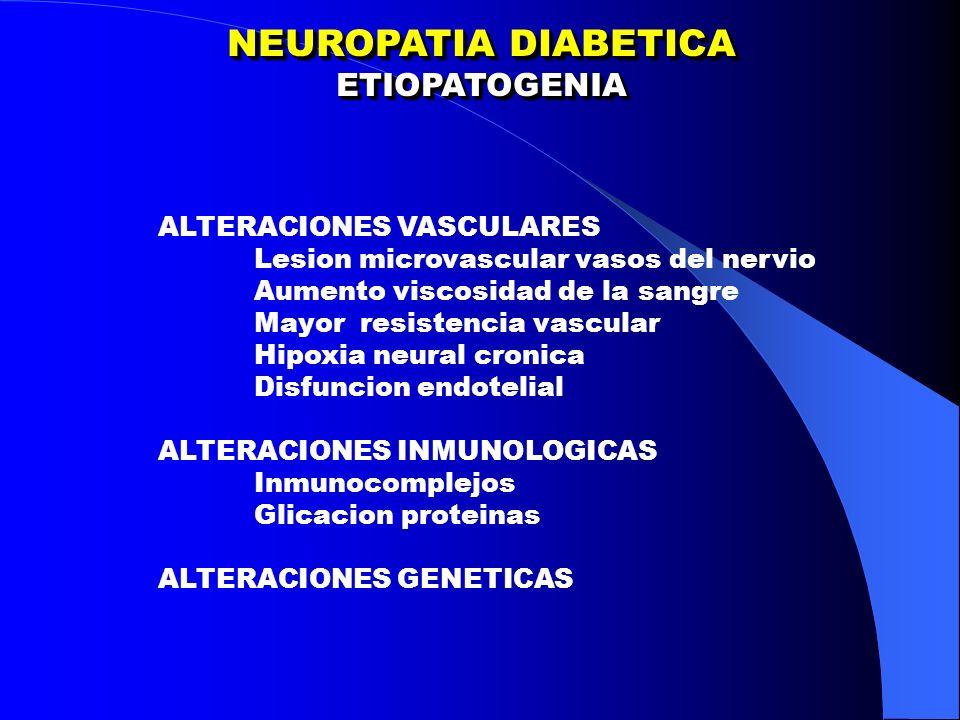 NEUROPATIA DIABETICA ETIOPATOGENIA ALTERACIONES VASCULARES