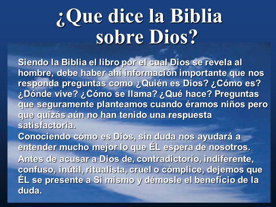 ¿Que dice la Biblia sobre Dios