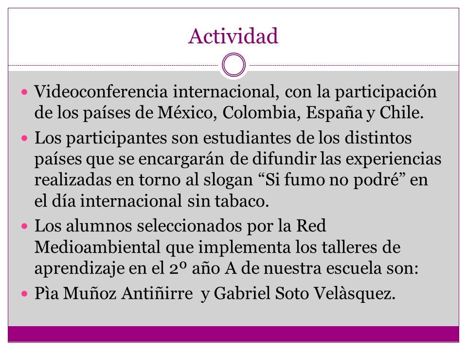 ActividadVideoconferencia internacional, con la participación de los países de México, Colombia, España y Chile.