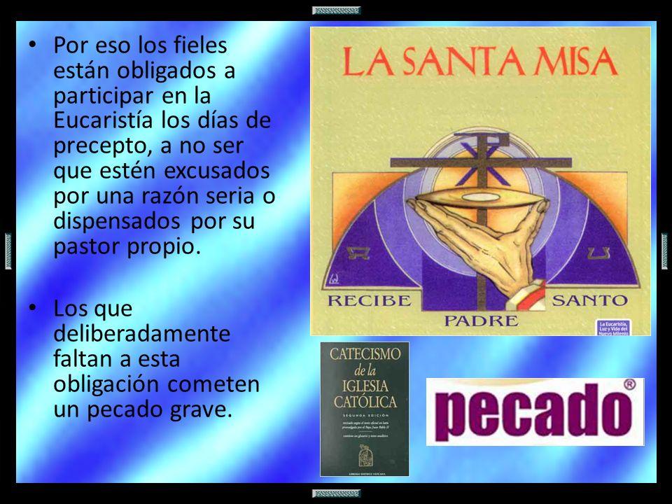 Por eso los fieles están obligados a participar en la Eucaristía los días de precepto, a no ser que estén excusados por una razón seria o dispensados por su pastor propio.