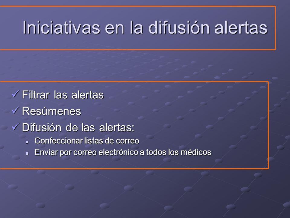 Iniciativas en la difusión alertas