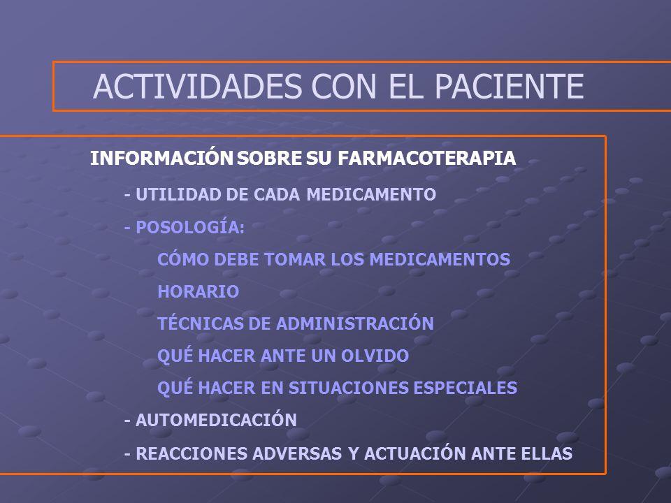 ACTIVIDADES CON EL PACIENTE
