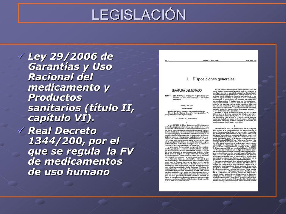 LEGISLACIÓN Ley 29/2006 de Garantías y Uso Racional del medicamento y Productos sanitarios (título II, capítulo VI).