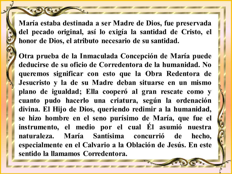 María estaba destinada a ser Madre de Dios, fue preservada del pecado original, así lo exigía la santidad de Cristo, el honor de Dios, el atributo necesario de su santidad.