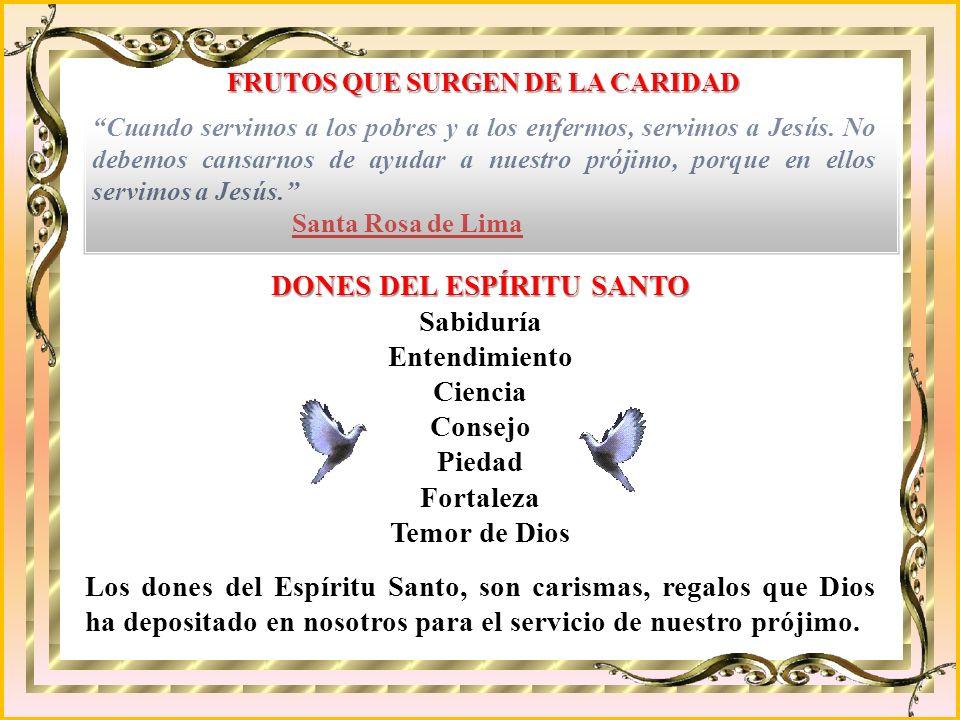FRUTOS QUE SURGEN DE LA CARIDAD DONES DEL ESPÍRITU SANTO