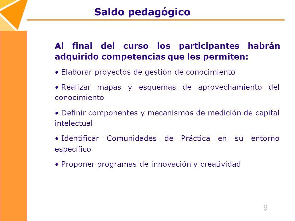 Saldo pedagógico Al final del curso los participantes habrán adquirido competencias que les permiten: