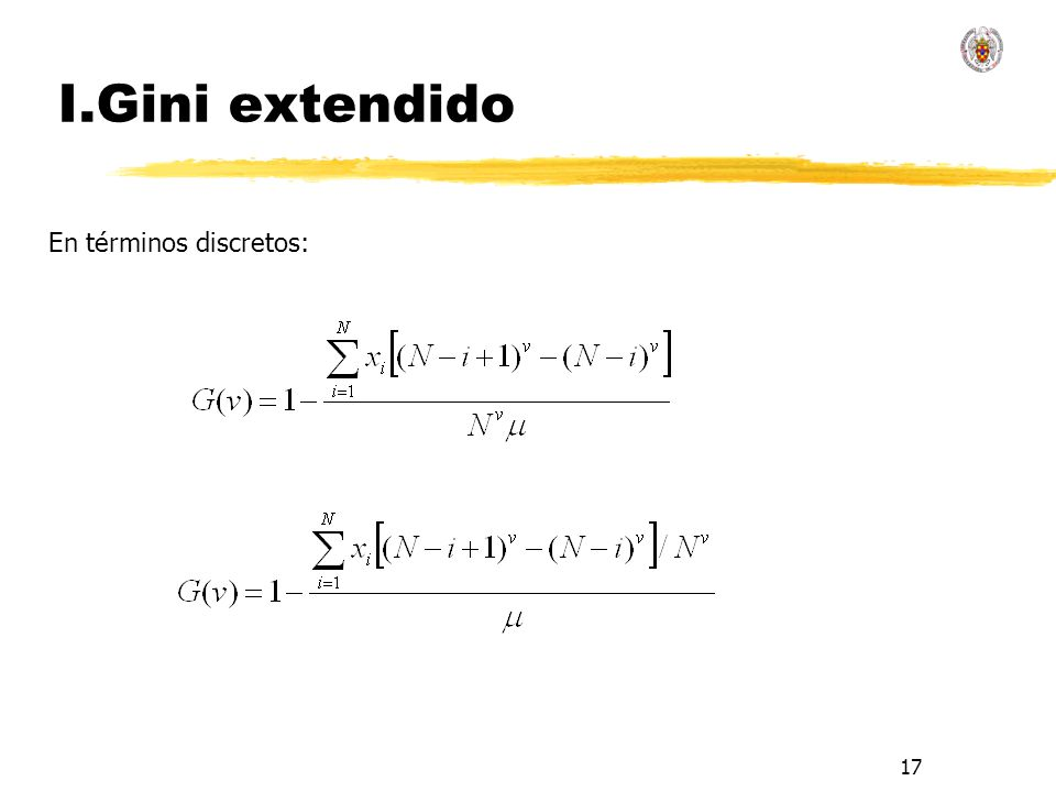I.Gini extendido En términos discretos: