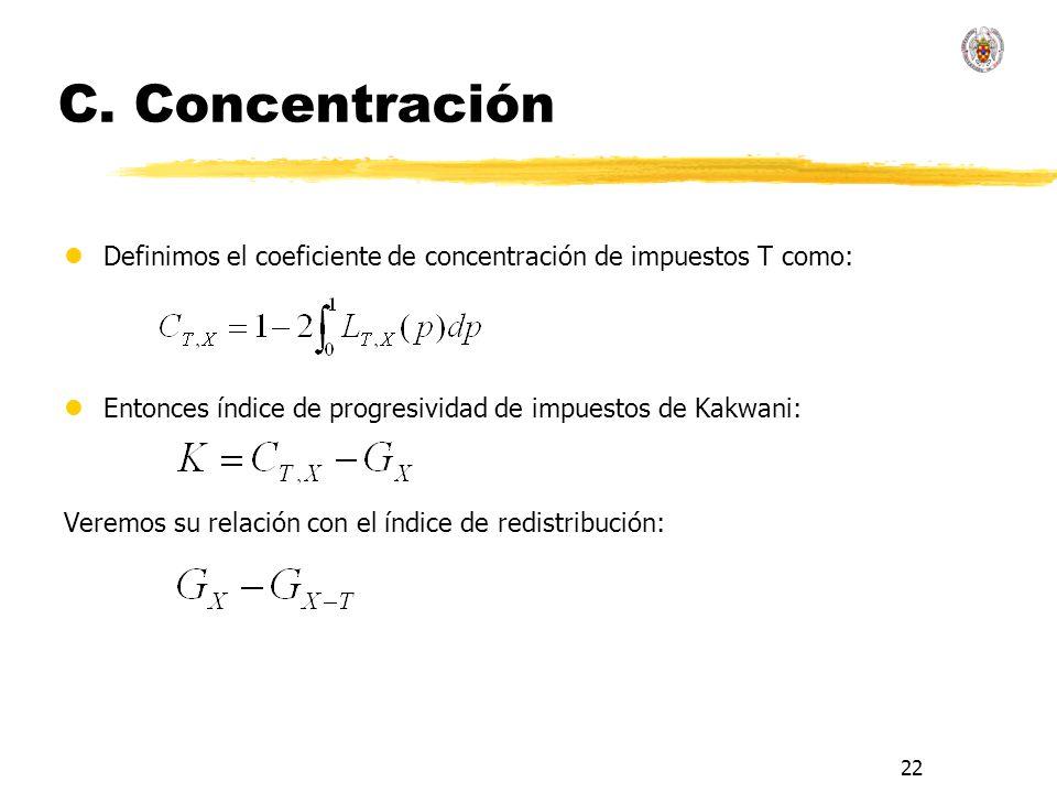 C. ConcentraciónDefinimos el coeficiente de concentración de impuestos T como: Entonces índice de progresividad de impuestos de Kakwani: