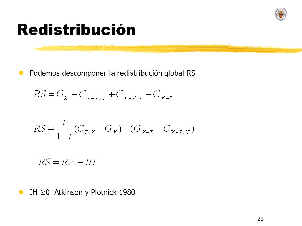 Redistribución Podemos descomponer la redistribución global RS