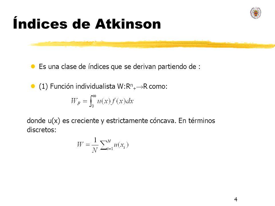 Índices de Atkinson Es una clase de índices que se derivan partiendo de : (1) Función individualista W:Rn+R como: