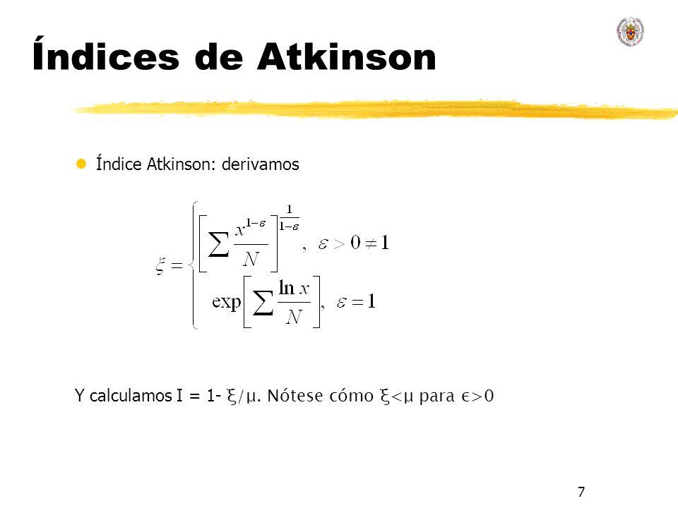 Índices de Atkinson Índice Atkinson: derivamos