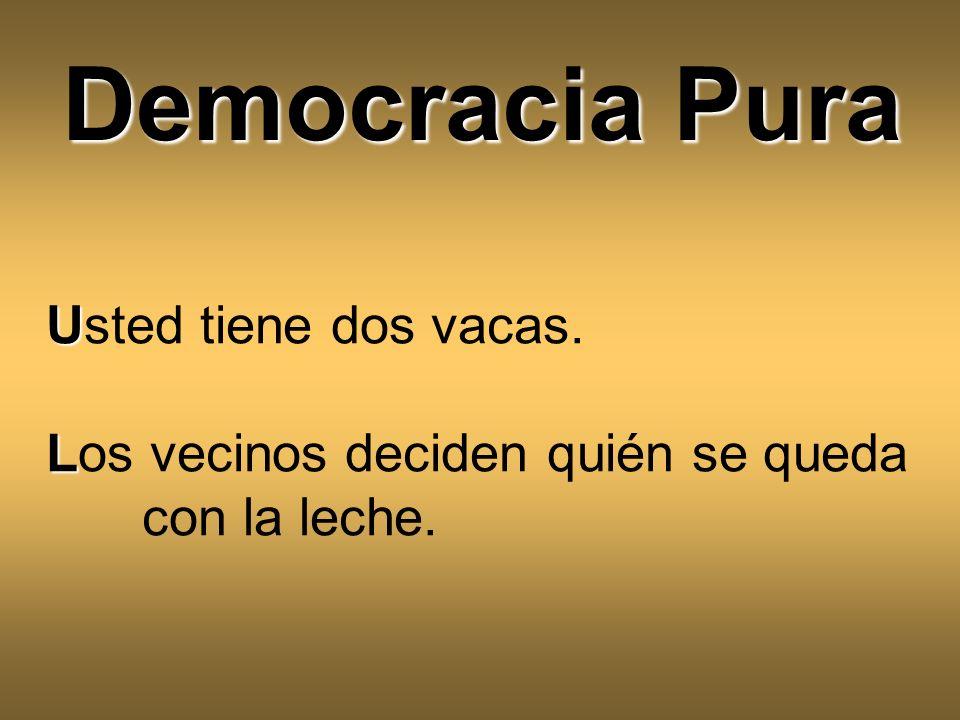 Democracia Pura Usted tiene dos vacas.