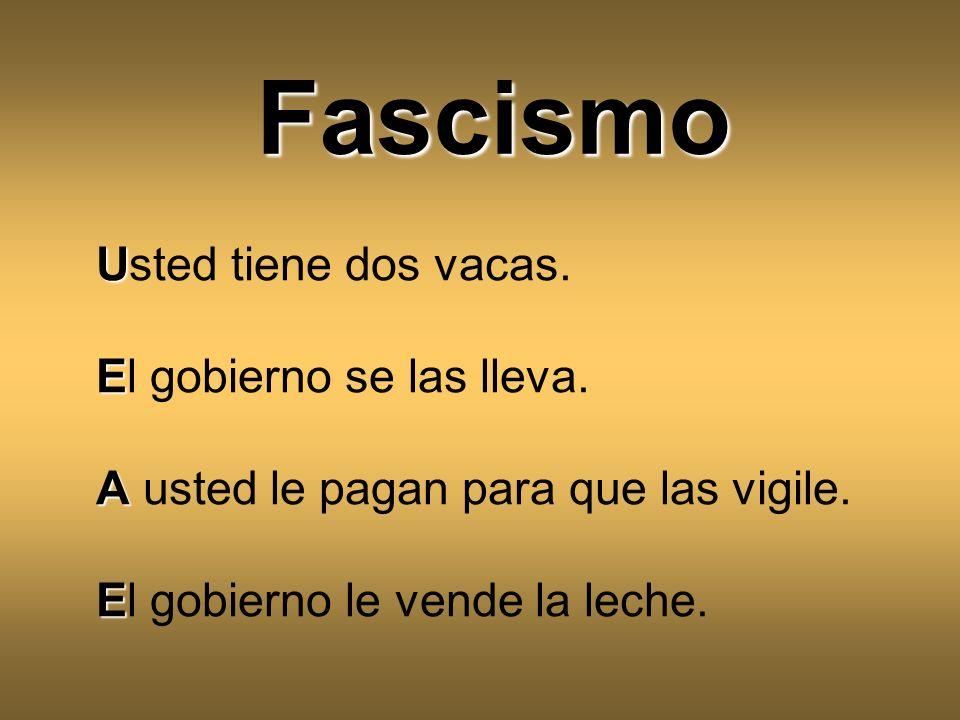 Fascismo Usted tiene dos vacas. El gobierno se las lleva.