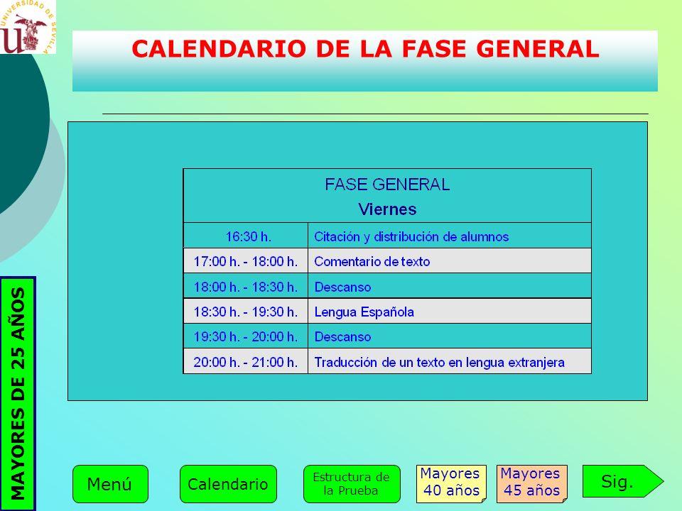 CALENDARIO DE LA FASE GENERAL