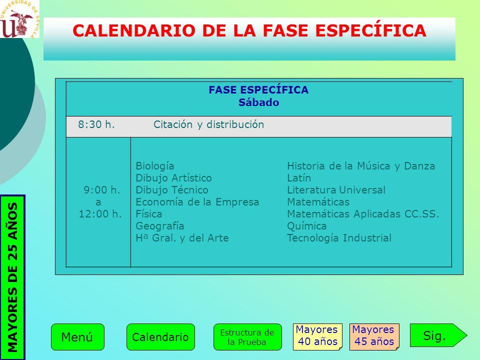 CALENDARIO DE LA FASE ESPECÍFICA