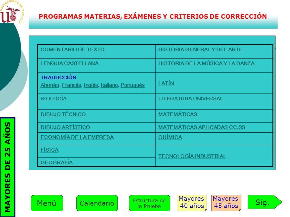 PROGRAMAS MATERIAS, EXÁMENES Y CRITERIOS DE CORRECCIÓN