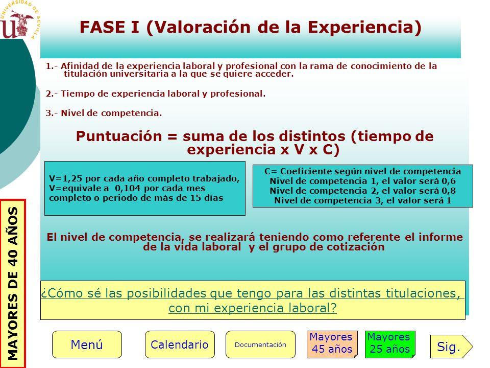 FASE I (Valoración de la Experiencia)