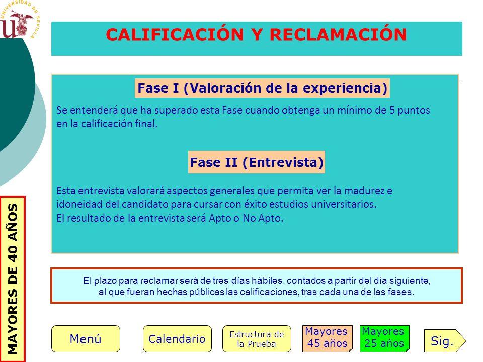 CALIFICACIÓN Y RECLAMACIÓN Fase I (Valoración de la experiencia)